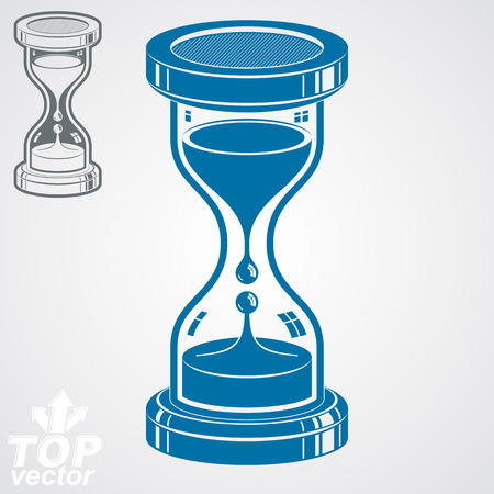 interim: Eps8 high quality dimensional vector sand-glass illustration, additional version included. Antique decorative liquid 3d hourglass. Vintage clock with water drops. Time conceptual stylized icon.
