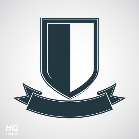 best protection: Military award icon. Heraldic blazon illustration - decorative coat of arms. Vector gray defense shield with stylized curvy ribbon, protection element, best for use in graphic and web design. Illustration