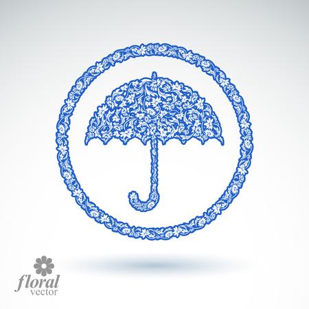 """brolly: Hermosa paraguas floreada. Accesorios � � estilizada """"sombrilla creativo, paraguas ilustraci�n gr�fica, mejor para su uso en dise�o publicitario y web. Vectores"""