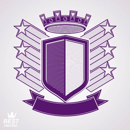 coronet: Empire stylized vector graphic symbol. Shield with 3d flying stars and imperial crown. Clear eps8 coat of arms – security idea. Elegant coronet, web design icon. Illustration