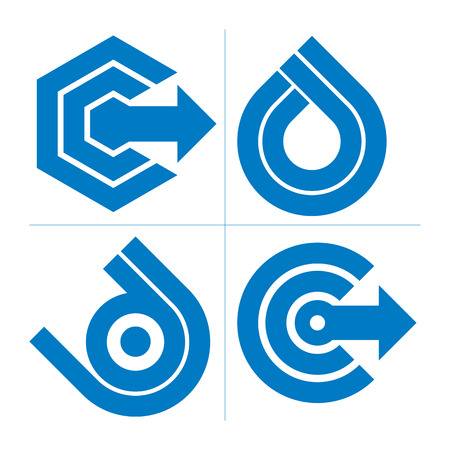 company growth: Graphic elements collection with simple arrows, business development and technology innovation theme vector icons. Company growth concept, set of abstract symbols.