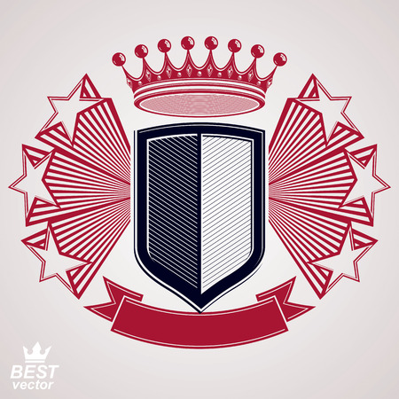 Empire stylized vector graphic symbol. Shield with 3d flying stars and imperial crown. Clear eps8 coat of arms – security idea. Elegant coronet, web design icon. Иллюстрация