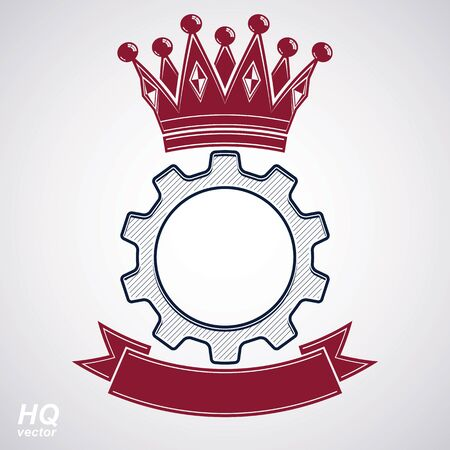 coronet: Vector industrial design element, cog wheel with a coronet and red decorative curvy ribbon. High quality manufacturing gear icon. Best engineering project award conceptual symbol. Royal heraldic coat of arms. Illustration