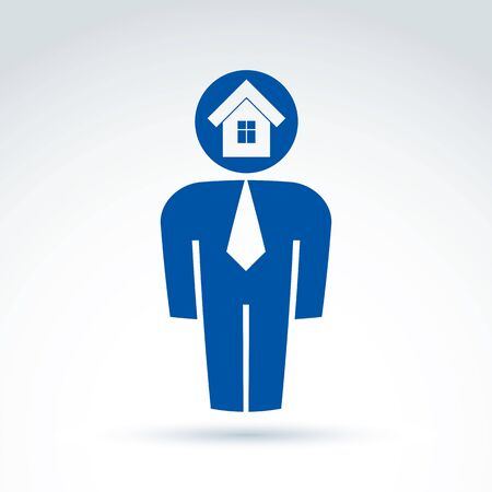 white collar: White collar office worker man icon with house real estate icon, conceptual vector symbol. Illustration