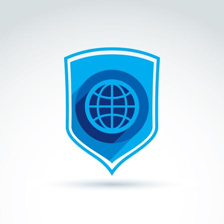 defence: Protect the world, shield, defense symbol and earth globe icon, vector conceptual unusual symbol for your design. Illustration