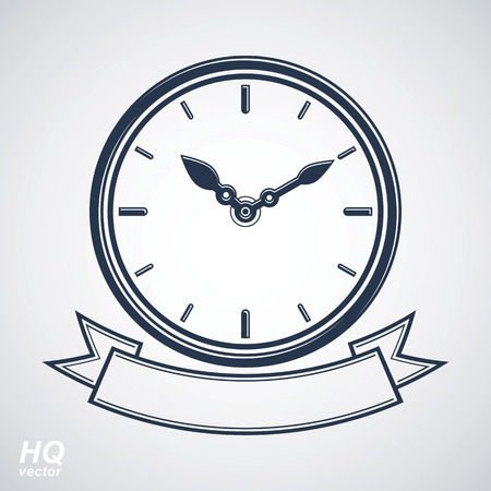 hour hand: Best timing vector eps8 icon, wall clock with an hour hand on dial. High quality timer illustration with curvy decorative ribbon. Business planning conceptual icon. Illustration