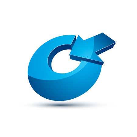 achieve goal: Three-dimensional vector symbol with an arrow directed into the target. Achieve goal business conceptual 3d icon. Illustration