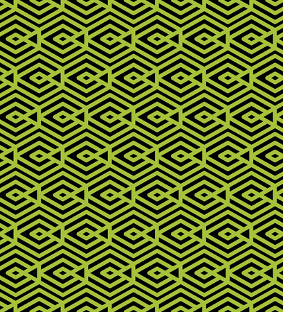 visual effect: Green abstract seamless pattern with interweave lines. Vector ornament wallpaper. Endless decorative background, visual effect geometric tracery with rhombs.