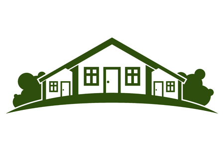 locality: Abstract vector illustration of country houses with horizon line. Village theme picture – green house. Simple buildings on nature background, graphic emblem for advertising and real estate.