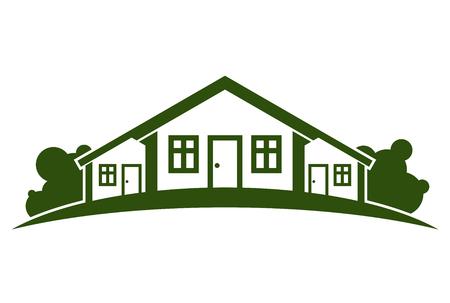 Zusammenfassung Vektor-Illustration von Landhäusern mit Horizontlinie. Dorfthemenbild - grünes Haus. Einfache Gebäude auf die Natur Hintergrund, Grafik-Emblem für die Werbung und Immobilien. Standard-Bild - 46320170