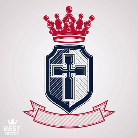 crusade: Imperial insignia, vector royal shield with decorative band and monarch coronet. Detailed eps8 coat of arms, king guard symbol with cross - web design element. Crusade.
