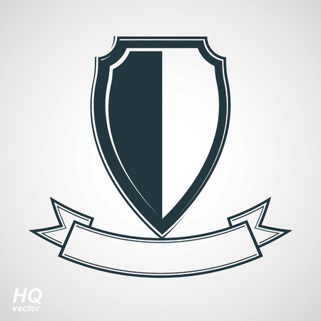 blazon: Military award icon. Heraldic blazon illustration - decorative coat of arms. Vector gray defense shield with stylized curvy ribbon, protection element, best for use in graphic and web design. Illustration
