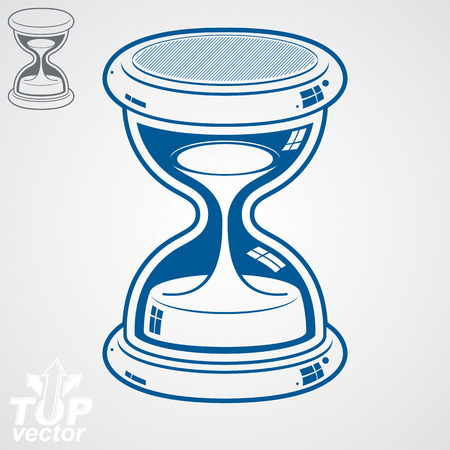 conceptual symbol: Retro dimensional vector sand-glass illustration, simple additional version. Old-fashioned decorative 3d hourglass - time management business icon. Time is running out conceptual symbol.