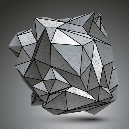 spatial: Distorted galvanized 3d object created from geometric figures, complicated spatial design model.