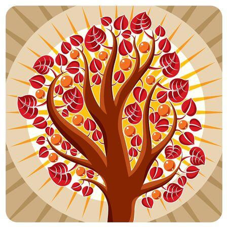 Tree with ripe apples placed on stylized background, harvest season theme illustration. Fruitfulness and fertility idea symbolic image.
