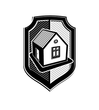 agence immobiliere: Property protection idea, stylized vector heraldic symbol with classic house. Real estate agency branding graphic element, conceptual shield, can be used in web design. Illustration