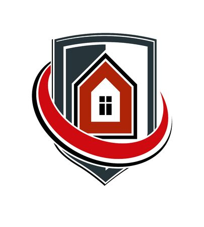 blazonry: Safety idea, abstract vector heraldic symbol with classic house. Real estate brand design element, conceptual coat of arms.