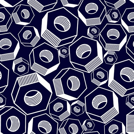high detailed: Seamless pattern with 3d industrial nuts for use with bolts, manufacturing parts wallpaper. Detailed vector high quality three-dimensional technical parts.