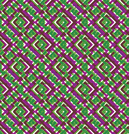 Colorful geometric seamless pattern, symmetric endless vector background with intertwine lines. Abstract concept splicing covering.
