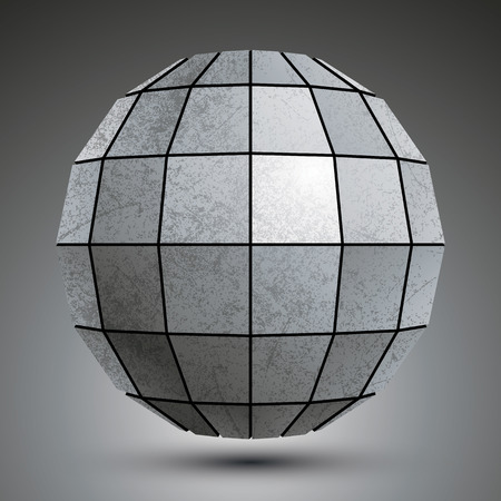 facet: Zinc facet dimensional globe created with squares, grunge abstract object. Illustration