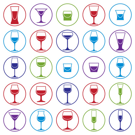 revelry: Drinking glasses collection, vector martini, wineglass, cognac, whiskey and champagne. Alcohol theme simple illustrations, lifestyle design elements. Different goblets. Illustration