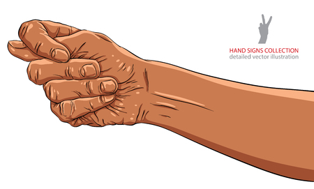 fig: Fig fico hand sign, African ethnicity, detailed vector illustration. Illustration