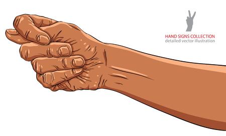 fico: Fig fico hand sign, African ethnicity, detailed vector illustration. Illustration