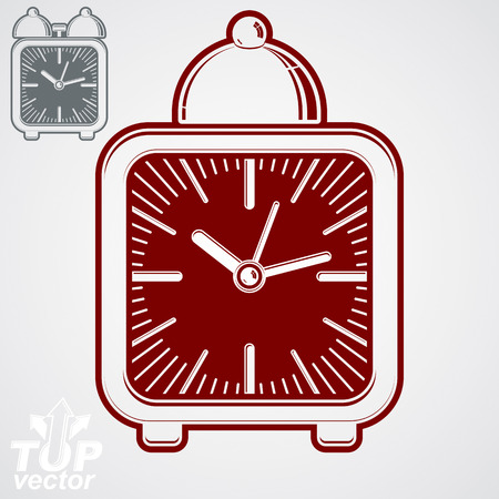 get up: Vector squared 3d alarm clock with clock bell, decorative wake up conceptual icon. Graphic design element – get up theme. Waiter ringing symbol. Illustration