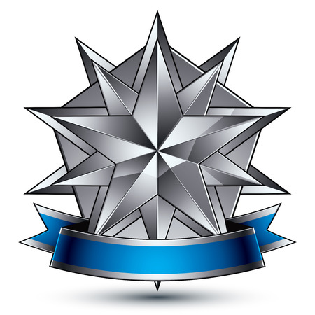 silver star: Vector glorious glossy design element, luxury 3d polygonal silver star, conceptual complicated graphic shield template with festive strip, clear EPS 8 decorative medallion. Protection theme.