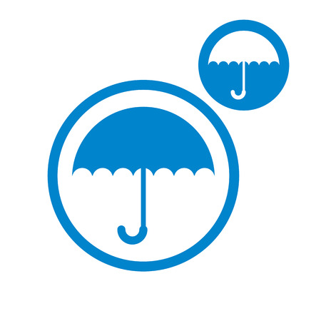 single color: Umbrella vector simple single color icon isolated on white background, includes invert version for you to choose.