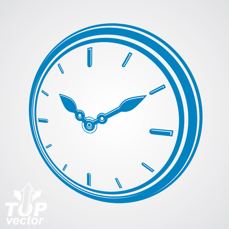 interim: 3d vector round stylized wall clock. Time idea classic perspective symbol. Time management conceptual elegant symbol. Web design element – dimensional timer.