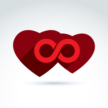 everlasting: Vector infinity icon. Illustration of an eternity symbol placed on a red heart - love forever concept. Two Valentine hearts connected – marriage idea.