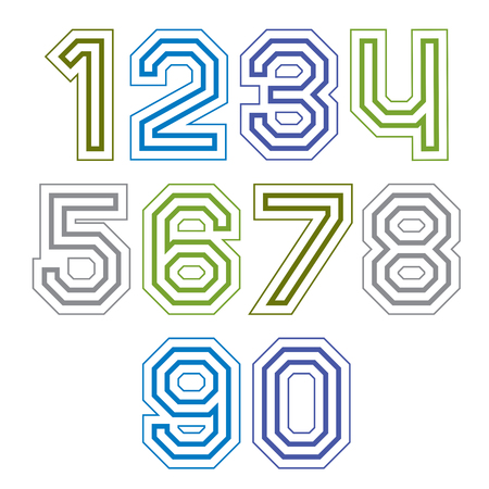 web 2 0: Large colorful regular acute-angled digits, bright vector straight numbers isolated on white background. Wide graphic contemporary numeration. Illustration