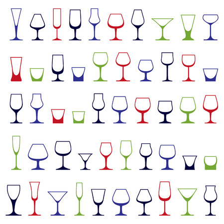 revelry: Classic goblets collection, vector martini, wineglass, cognac and whiskey. Alcohol theme illustrations. Lifestyle graphic design elements, set of simple glasses. Illustration