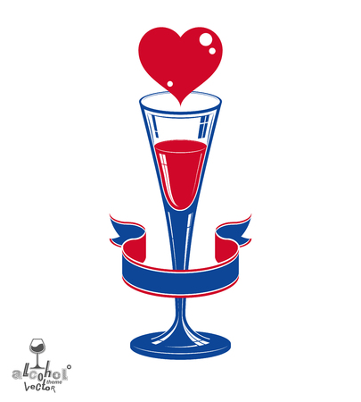 sparkling wine: Champagne party goblet with red loving heart and festive ribbon. Alcohol beverage graphic design element – marriage anniversary celebration idea, eps8 sparkling wine illustration. Illustration