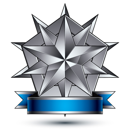 is magnificent: Heraldic 3d glossy blue and gray icon - can be used in web and graphic design, complicated silver star placed over shield magnificent element with elegant ribbon, clear EPS 8 vector.