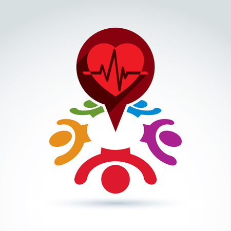 fund: Cardiology medical and society cardiogram heart beat icon, medical organization, medical fund, vector conceptual special icon for your design.