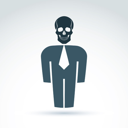white collar: White collar office worker man icon with skull, conceptual vector symbol.