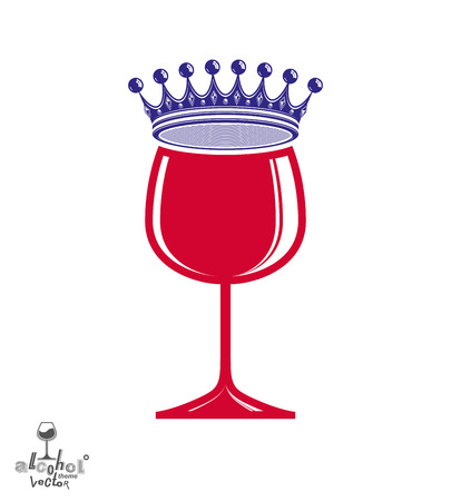 rendezvous: Stylish luxury wineglass with imperial crown isolated on white background. Holiday and celebration theme vector goblet, eps8. Rendezvous conceptual illustration.