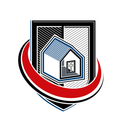blazonry: Home insurance vector conceptual icon, protection shield with a simple house. Design element, construction idea. Heraldry. Illustration