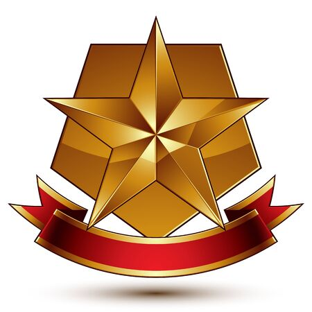 Vector glorious glossy design element, luxury 3d pentagonal golden star placed on a decorative blazon, conceptual graphic coat of arms with wavy red ribbon, clear EPS 8. Illustration