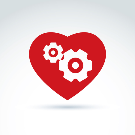 love icon: Gears and cogs in a shape of heart system theme icon, heart of machine, heart of business and cooperation, vector conceptual stylish symbol for your design.