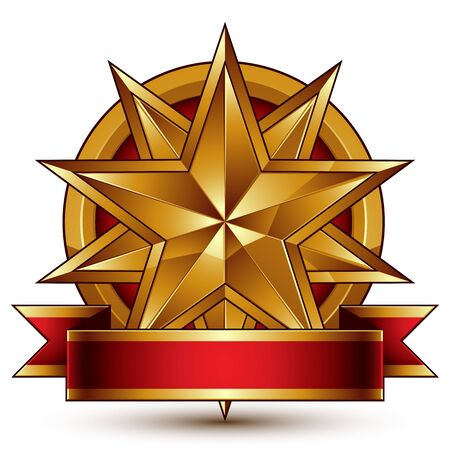 polished: Complicated vector golden design element with polygonal decorative star and red curvy ribbon. 3d luxury medallion isolated on white background. Round festive dimensional badge with refined tape.