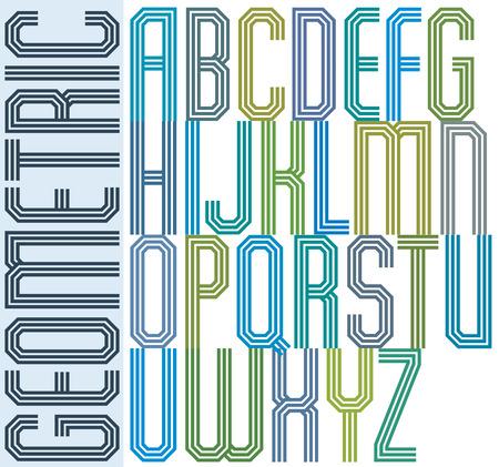 triple: Retro colorful geometric font with parallel triple lines, decorative poster letters. Illustration
