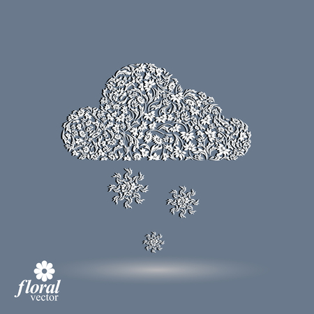 flowery: Winter snowing cloud with snowflakes – weather forecast simple pictogram. Flowery graphic weather conditions icon, design season image. Illustration