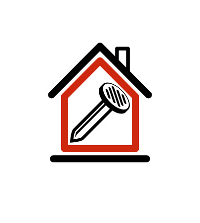 woodwork: Classic nail icon, woodwork equipment. House with work tools, carpentry. Home construction idea, property developer vector stylized symbol.