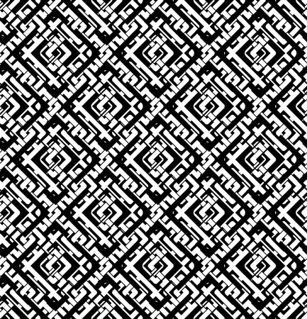 figuration: Black and white abstract textured geometric seamless pattern. Symmetric monochrome vector textile backdrop. Maze intertwine rhombs.