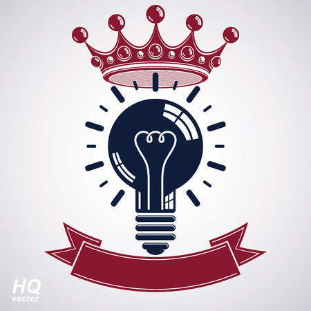crown of light: Electricity light bulb symbol with crown, insight emblem. Vector royal conceptual icon. Best idea award icon with curvy ribbon. Brilliant idea graphic web design element.