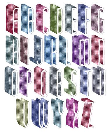 oude krant: 3d dunne lettertype met halftoonpunten textuur, oude brieven alfabet.