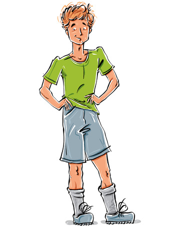 fullbody: Vector full-length drawing of a smiling Caucasian red-haired teenager, bright cartoon hand-drawn front view of a youngster wearing green t-shirt, shorts and sneakers, colorful illustration of a standing friendly boy, akimbo.